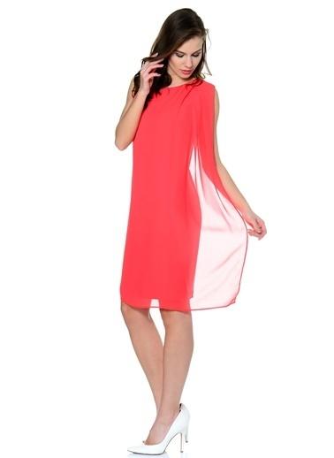 Asymmetry Tül Detaylı Midi Elbise Kırmızı